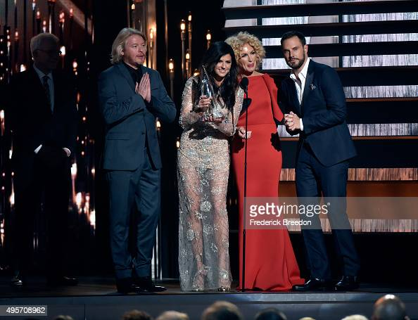 Phillip Sweet Karen Fairchild Kimberly Schlapman and Jimi Westbrook of Little Big Town accept the award for Single of the Year for the song 'Girl...