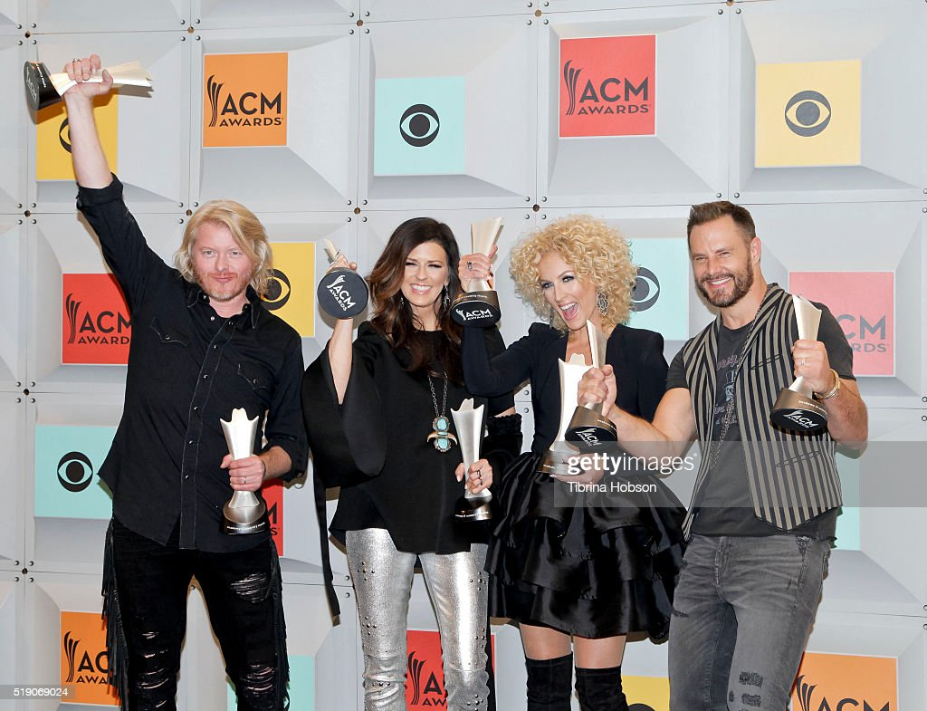 Phillip Sweet Karen Fairchild Kimberly Schlapman and Jimi Westbrook of Little Big Town pose in the press room during the 51st Academy of Country...