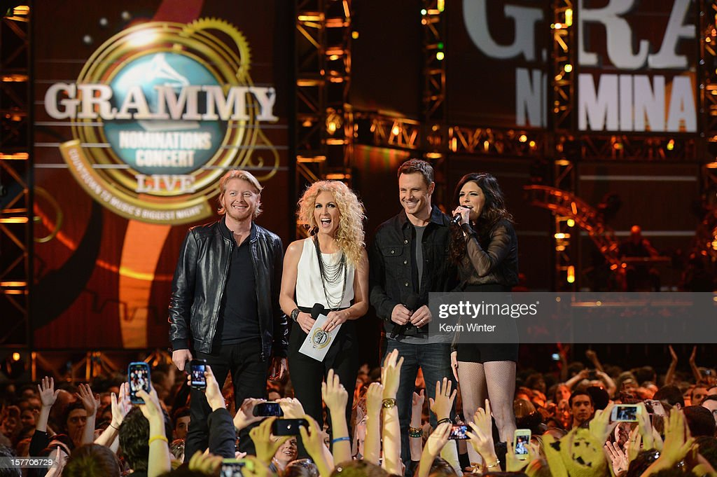Phillip Sweet, Kimberly Roads Schlapman, Jimi Westbrook, Karen Fairchild of Little Big Town onstage at The GRAMMY Nominations Concert Live!! held at Bridgestone Arena on December 5, 2012 in Nashville, Tennessee.