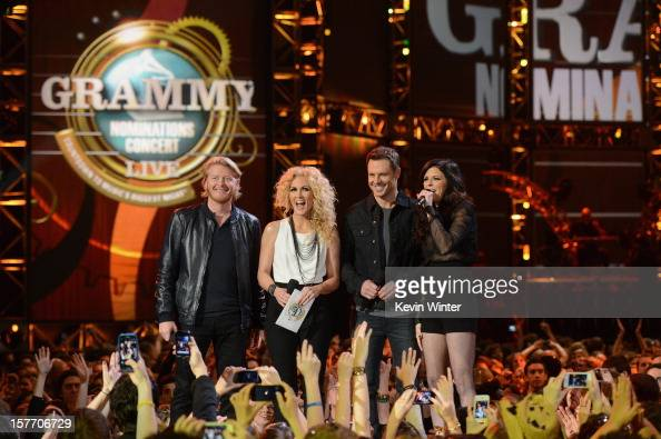 Phillip Sweet Kimberly Roads Schlapman Jimi Westbrook Karen Fairchild of Little Big Town onstage at The GRAMMY Nominations Concert Live held at...