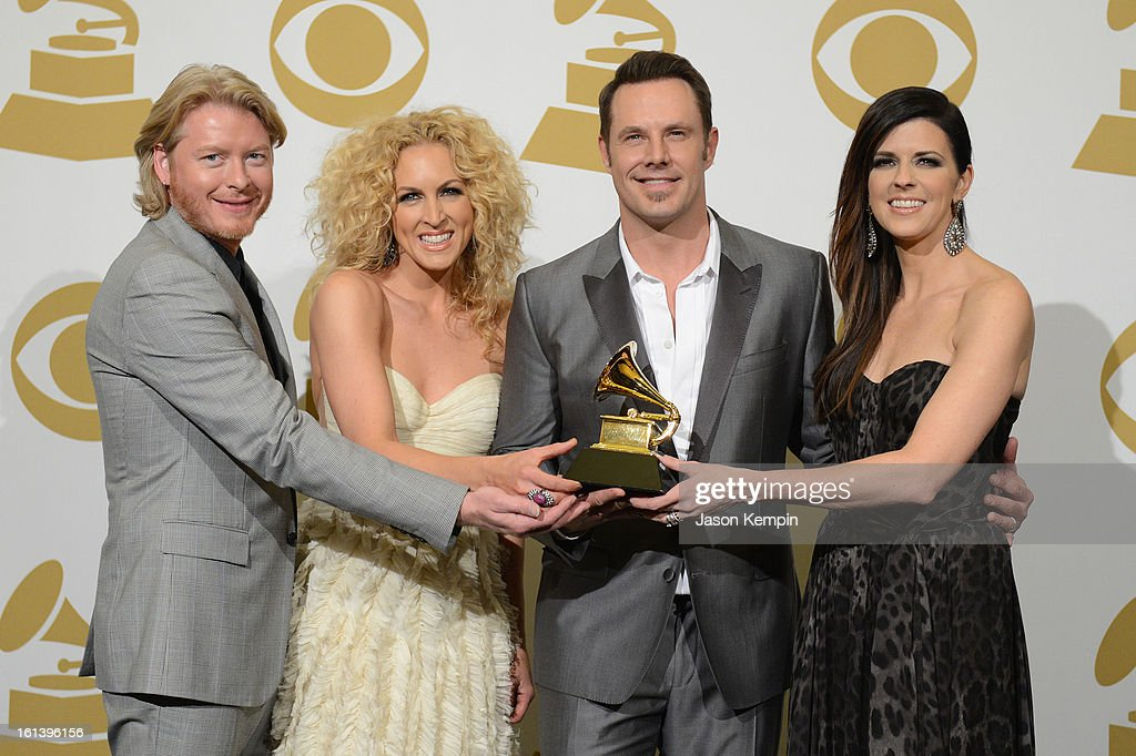 Phillip Sweet, Kimberly Schlapman, Jimi Westbrook and Karen Fairchild of Little Big Town pose in the press room during the 55th Annual GRAMMY Awards at STAPLES Center on February 10, 2013 in Los Angeles, California.