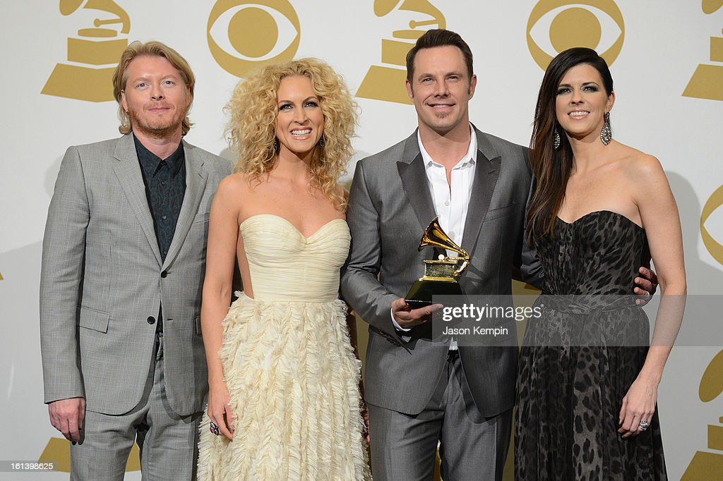 Phillip Sweet, Kimberly Schlapman, Jimi Westbrook and Karen Fairchild of Little Big Town, winners of Best Country Duo/Group Performance for 'Pontoon', pose in the press room during the 55th Annual GRAMMY Awards at STAPLES Center on February 10, 2013 in Los Angeles, California.