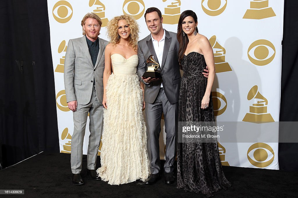 Phillip Sweet, Kimberly Schlapman, Jimi Westbrook and Karen Fairchild, winner Best Country Duo/Group Performance for 'Pontoon', pose in the press room at the 55th Annual GRAMMY Awards at Staples Center on February 10, 2013 in Los Angeles, California.