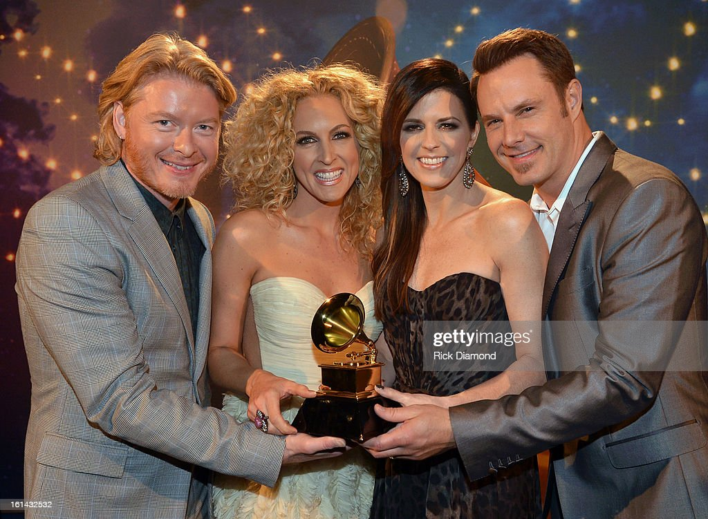 Phillip Sweet, Kimberly Schlapman, Karen Fairchild and Jimi Westbrook of Little Big Town pose during the 55th Annual GRAMMY Awards Pre-Telecast at Nokia Theatre L.A. Live on February 10, 2013 in Los Angeles, California.