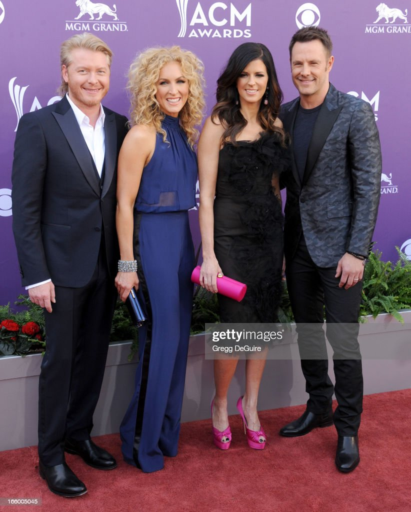 Phillip Sweet, Kimberly Schlapman, Karen Fairchild and Jimi Westbrook of music group Little Big Town arrive at the 48th Annual Academy Of Country Music Awards at MGM Grand Garden Arena on April 7, 2013 in Las Vegas, Nevada.