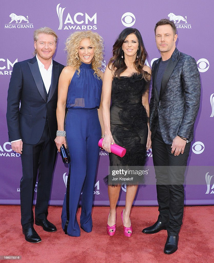 Phillip Sweet, Kimberly Schlapman, Karen Fairchild and Jimi Westbrook of Little Big Town arrive at the 48th Annual Academy Of Country Music Awards at MGM Grand Garden Arena on April 7, 2013 in Las Vegas, Nevada.