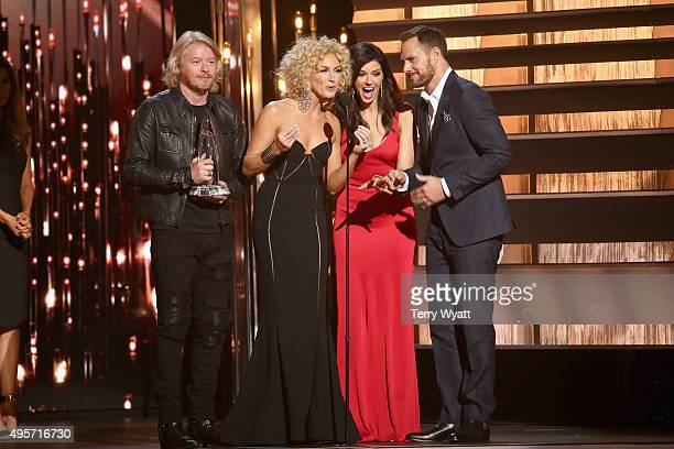 Phillip Sweet Kimberly Schlapman Karen Fairchild and Jimi Westbrook of Little Big Town accept the award for Vocal Group of the Year onstage at the...