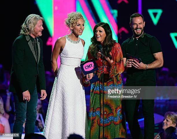 Phillip Sweet Kimberly Schlapman Karen Fairchild and Jimi Westbrook of Little Big Town win their first ever CMT Award for Group Video of the Year for...