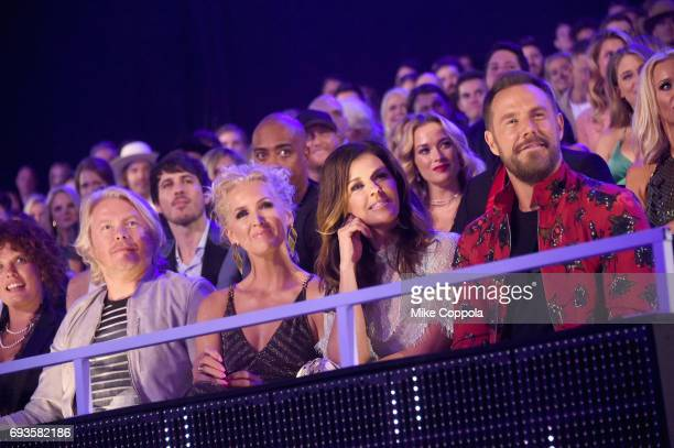 Phillip Sweet Kimberly Schlapman Karen Fairchild and Jimi Westbrook of Little Big Town attend the 2017 CMT Music awards at the Music City Center on...