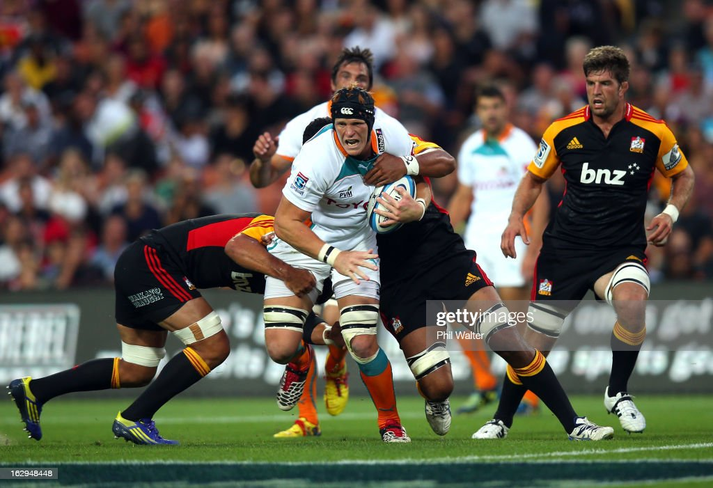 Phillip Van Der Walt of the Cheetahs is tackled during the round three Super Rugby match between the Chiefs and the Cheetahs at Waikato Stadium on March 2, 2013 in Hamilton, New Zealand.