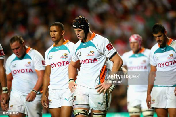 Phillip Van Der Walt of the Cheetahs shows his dejection following a Chiefs try during the round three Super Rugby match between the Chiefs and the...