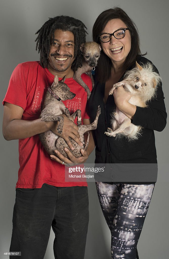 Phillip Wagner and Tracy May-Wagner pose for Portraits For Pooches on March 30, 2014 in Beverly Hills, California.