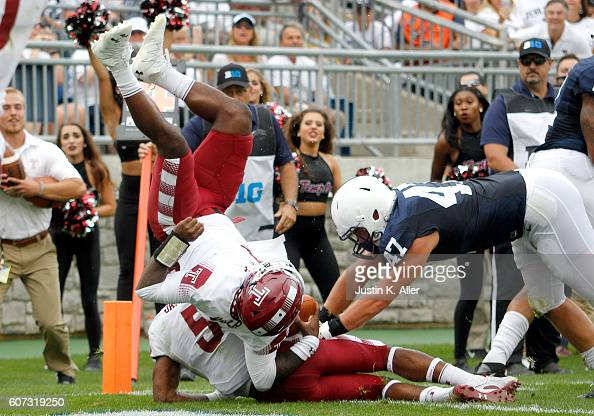 Phillip Walker of the Temple Owls jumps into the endzone for a 1 yard touchdown in the second half during the game against the Penn State Nittany...