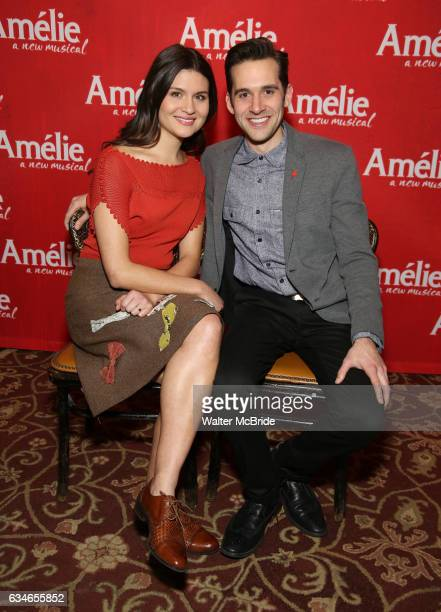 Phillipa Soo and Adam ChanlerBerat attend the 'Amelie' Broadway Musical Sneak Peek Concert at the Cutting Room on February 10 2017 in New York City