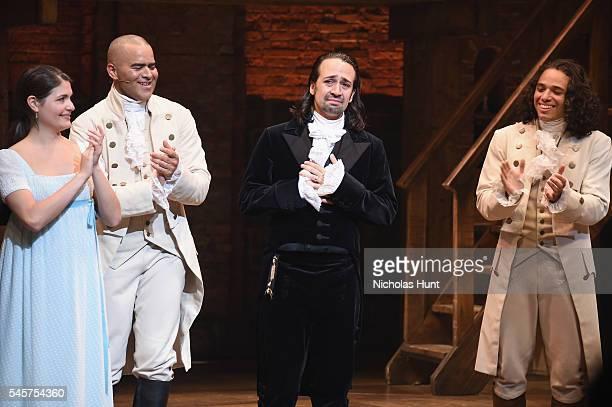 Phillipa Soo Christopher Jackson LinManuel Miranda and Anthony Ramos attend LinManuel Miranda's final performance of 'Hamilton' on Broadway at...