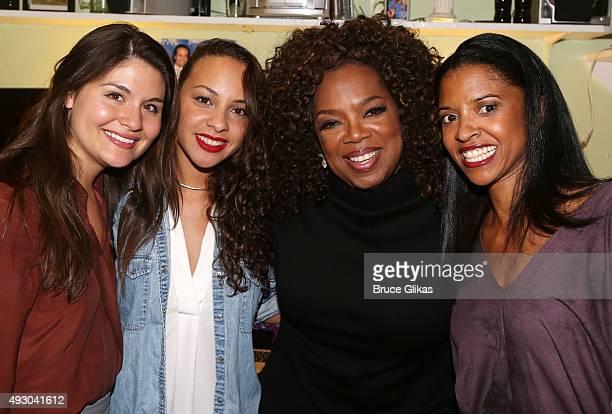 Phillipa Soo Jasmine Cephas Jones Oprah Winfrey and Renee Elise Goldsberry pose backstage at the hit musical 'Hamilton' on Broadway at The Richard...