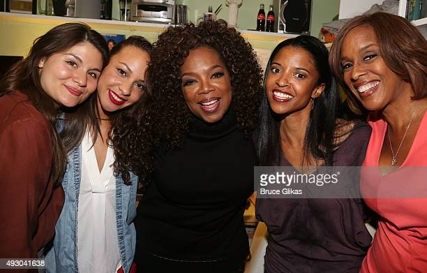 Phillipa Soo Jasmine Cephas Jones Oprah Winfrey Renee Elise Goldsberry and Gayle King pose backstage at the hit musical 'Hamilton' on Broadway at The...