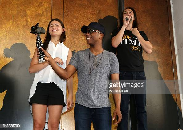 Phillipa Soo Leslie Odom Jr and LinManuel Miranda makes their Farewell 'Ham4Ham' performance at 'Hamilton on Broadway Lottery at The Richard Rogers...