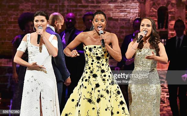 Phillipa Soo Renee Elise Goldsberry and Jasmine Cephas Jones perform onstage during the 70th Annual Tony Awards at The Beacon Theatre on June 12 2016...