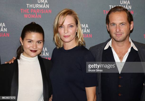 Phillipa Soo Uma Thurman and Josh Lucas pose at a press meet greet for the new broadway play 'The Parisian Woman' at The New 42nd Street Studios on...