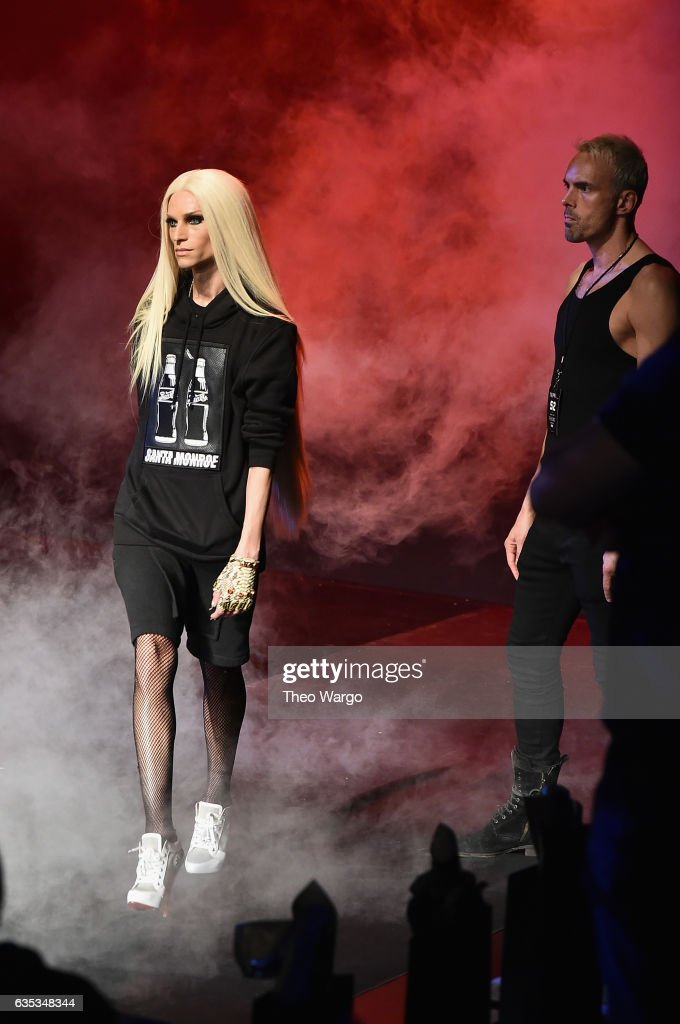 Phillipe Blond and David Blond walk the runway at the The Blonds collection during, New York Fashion Week: The Shows at Gallery 1, Skylight Clarkson Sq on February 14, 2017 in New York City.