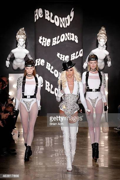 Phillipe Blond and models walk the runway at The Blonds show during MercedesBenz Fashion Week Fall 2015 at Milk Studios on February 18 2015 in New...