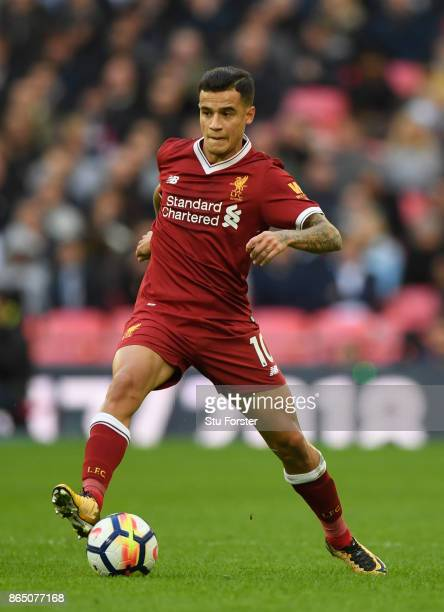 Phillipe Coutinho of Liverpool in action during the Premier League match between Tottenham Hotspur and Liverpool at Wembley Stadium on October 22...