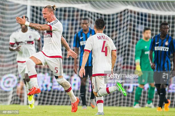 Phillipe Mexes of AC Milan celebrates after scoring during the AC Milan vs FC Internacionale as part of the International Champions Cup 2015 at the...