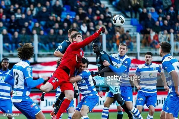 Phillipe Sandler of PEC Zwolle Joel Veltman of Ajax goalkeeper Mickey van der Hart of PEC Zwolle Dirk Marcellis of PEC Zwolle Davinson Sanchez of...