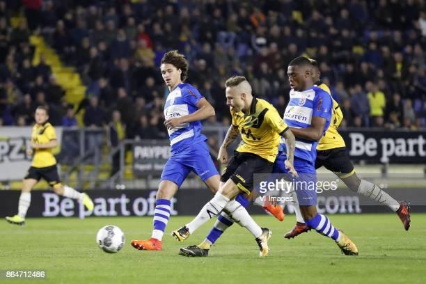 Phillipe Sandler of PEC Zwolle Jose Angelino of NAC Breda Kingsley Ehizibue of PEC Zwolle during the Dutch Eredivisie match between NAC Breda and PEC...