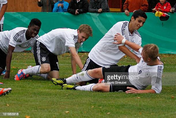 Phillipp Ochs of Germany and teammates celebrate their first goal during the U16 International Friendly match between Germany and Ukraine on...