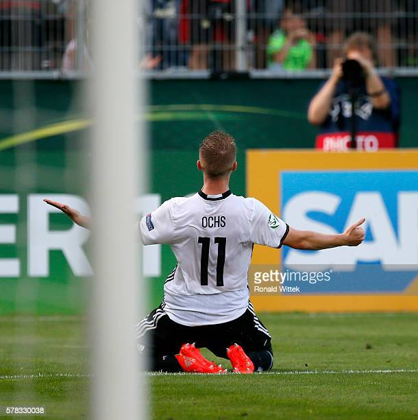 Phillipp Ochs of Germany celebrates after scoring his team's first goal during the UEFA Under19 European Championship match between U19 Germany and...