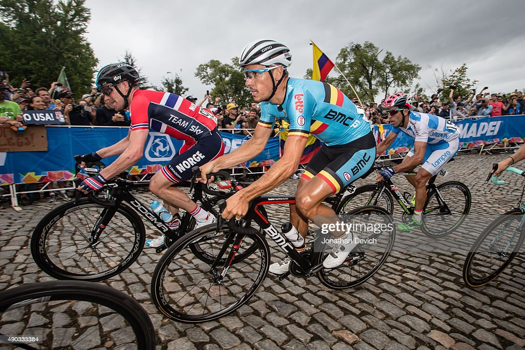 Phillippe Gilbert riding for the Belgian National Team on the climb with <a gi-track='captionPersonalityLinkClicked' href=/galleries/search?phrase=Lars+Petter+Nordhaug&family=editorial&specificpeople=6166045 ng-click='$event.stopPropagation()'>Lars Petter Nordhaug</a> riding for the Norwegian National Team and Max Richeze riding for the Argentinian National Team during the UCI Road World Championships on September 27, 2015 in Richmond, Virginia.