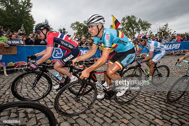 Phillippe Gilbert riding for the Belgian National Team on the climb with Lars Petter Nordhaug riding for the Norwegian National Team and Max Richeze...