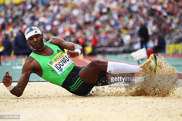 Phillips Idowu of Great Britain competes in the Mens Triple Jump during the Aviva London Grand Prix at Crystal Palace on August 6 2011 in London...