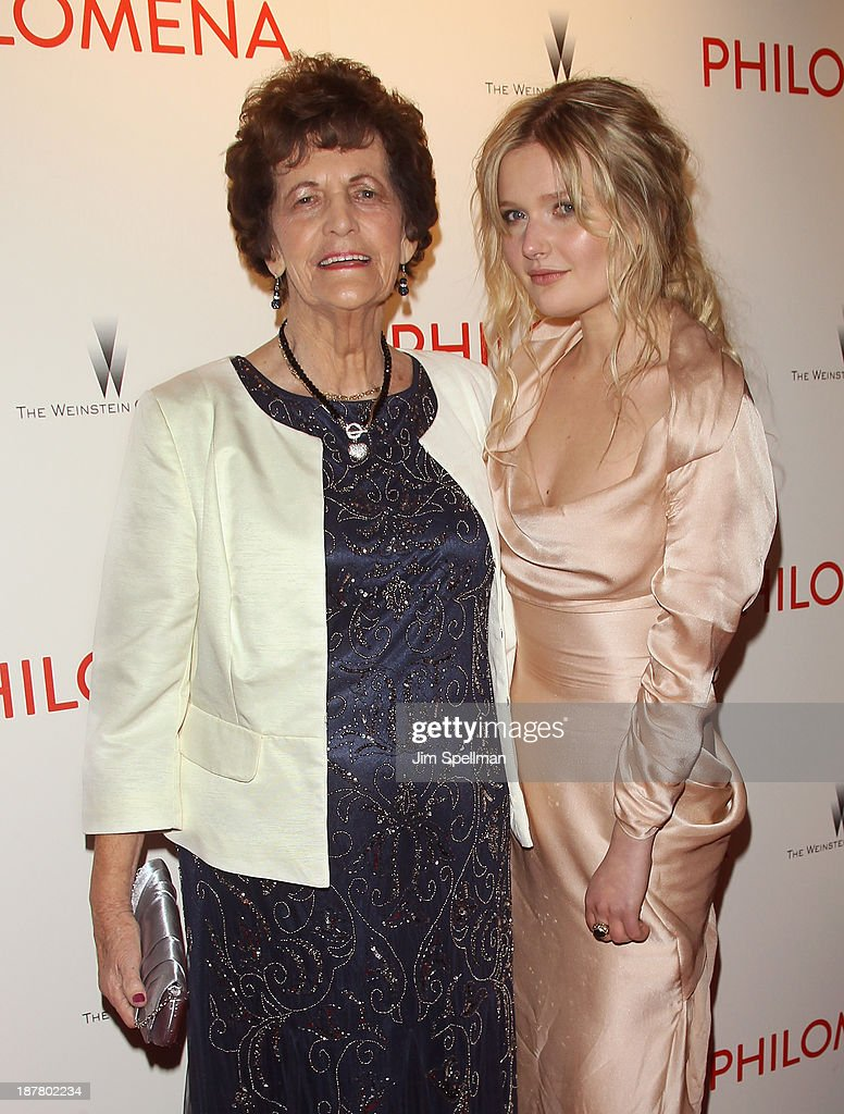Philomena Lee and actress <a gi-track='captionPersonalityLinkClicked' href=/galleries/search?phrase=Sophie+Kennedy+Clark&family=editorial&specificpeople=7256528 ng-click='$event.stopPropagation()'>Sophie Kennedy Clark</a> attend the premiere of 'Philomena' hosted by The Weinstein Company at Paris Theater on November 12, 2013 in New York City.