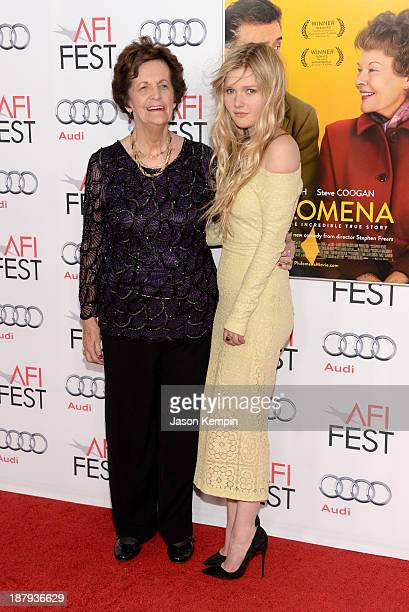 Philomena Lee and actress Sophie Kennedy Clark attend the premiere of 'Philomena' during AFI FEST 2013 presented by Audi at TCL Chinese Theatre on...