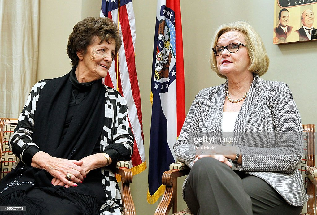 Philomena Lee (L) and Senator Claire McCaskill (D-MO) (R) meet to discuss a new adoption initiative, The Philomena Project, at the Hart Senate Office Building on January 30, 2014 in Washington, DC.