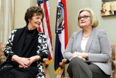 Philomena Lee and Senator Claire McCaskill meet to discuss a new adoption initiative The Philomena Project at the Hart Senate Office Building on...