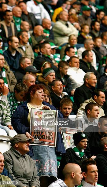 Philomena McCann aunt of Madeleine McCann hands out posters inside Celtic Park on May 12 2007 in Glasgow Scotland The three year old went missing...