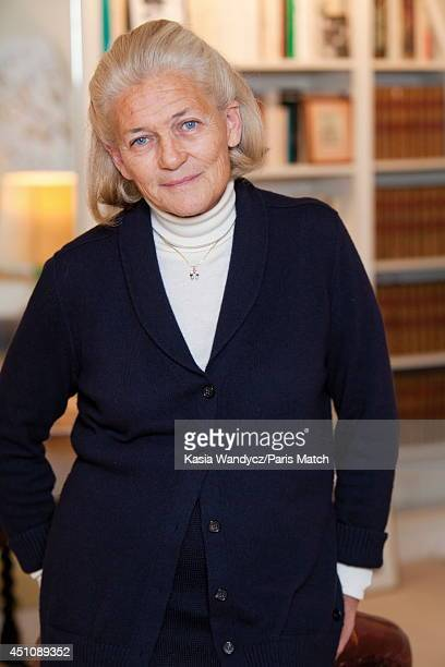 Philosopher Elisabeth Badinter is photographed for Paris Match on November 23 2014 in Paris France