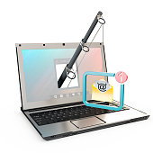 fishing rod with hostile email popping out from a computer screen over white background, 3d rendering