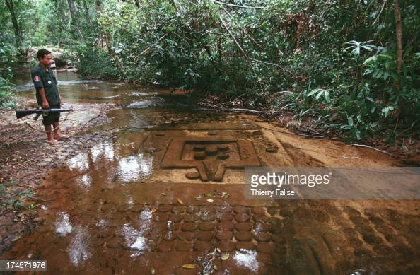 Phnom Kulen North of Angkor Wat temples Basrelief carved on the ...