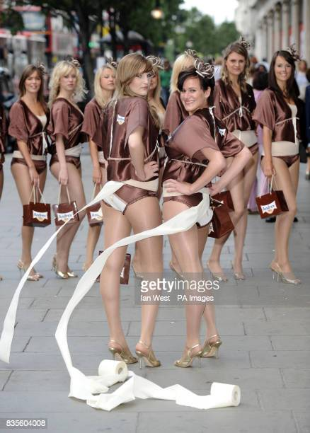 Phoebe Battye and Rose Glover are seen with 8 other models to help launch the new Andrex Shea Butter Toilet Tissue and the new limited edition Andrex...