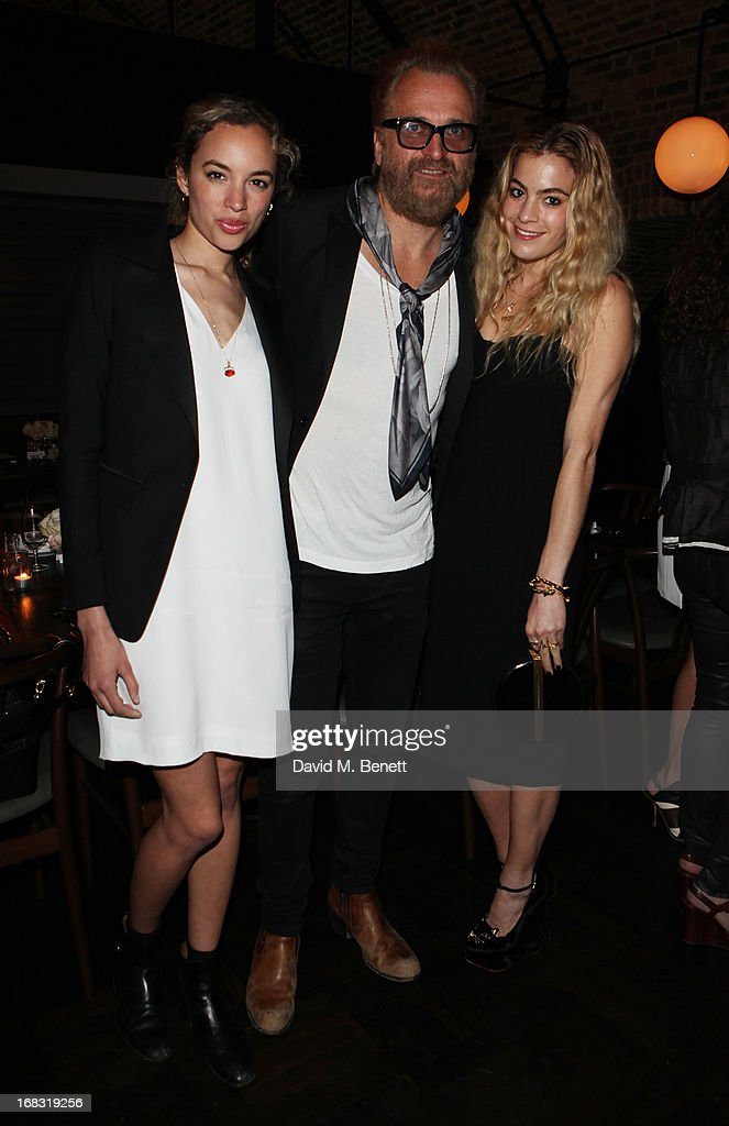 Phoebe Collings James, Johan Lindeberg and Marissa Montgomery attend the BLK DNM Dinner with Johan Lindeberg and Kim Sion at Beagle Restaurant on May 8, 2013 in London, England.