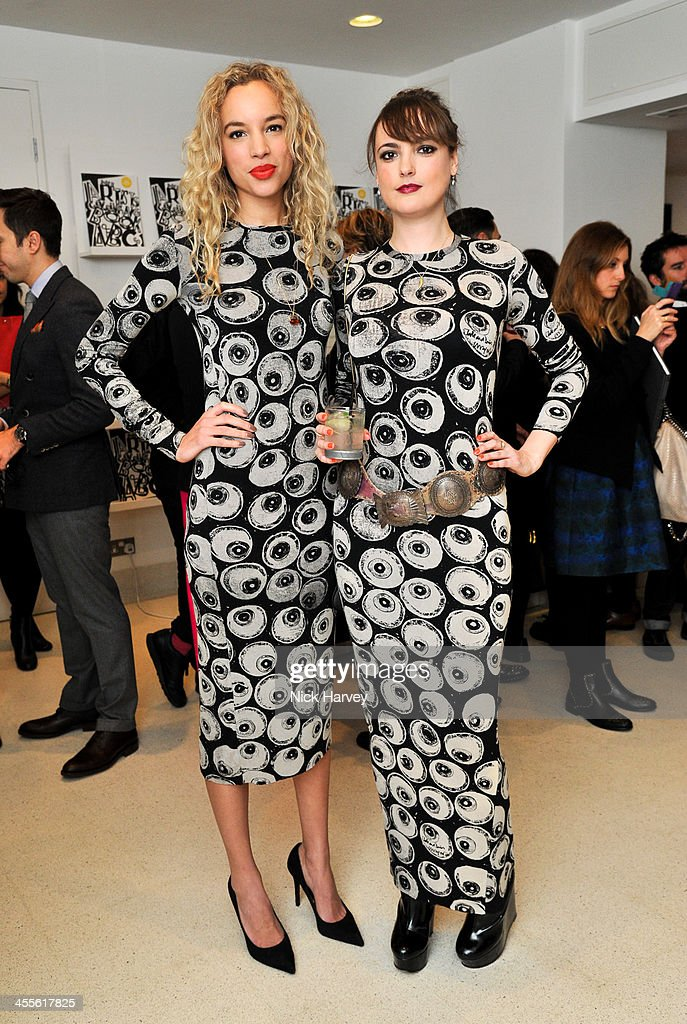 Phoebe Collings-James and Lauren Jones attend 'The Artists' Colouring Book of ABCs' Launch event at The Serpentine Gallery on December 12, 2013 in London, England.