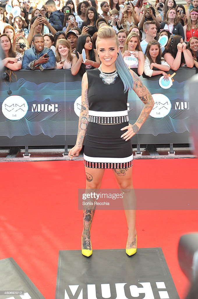 Phoebe Dykstra arrives at the 2014 MuchMusic Video Awards at MuchMusic HQ on June 15, 2014 in Toronto, Canada.