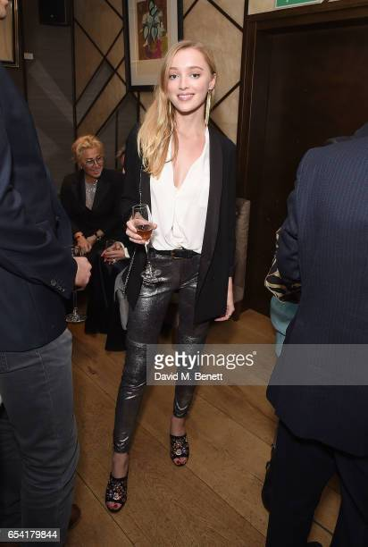 Phoebe Dynevor attends the ICONIC PR LND and PerrierJouët art presention of works by Picasso Miro Matisse Chagall at QP LDN on March 16 2017 in...