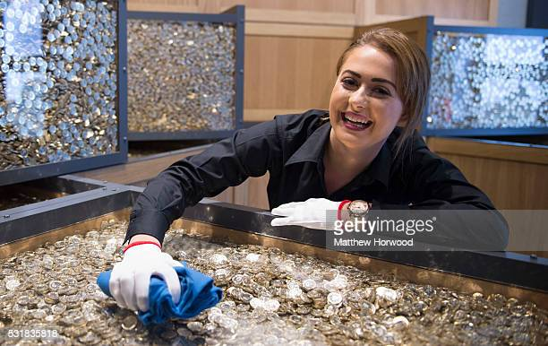 Phoebe Lewis of the Royal Mint cleans cases containing over one million pounds worth of coins at the Royal Mint Experience on May 17 2016 in...