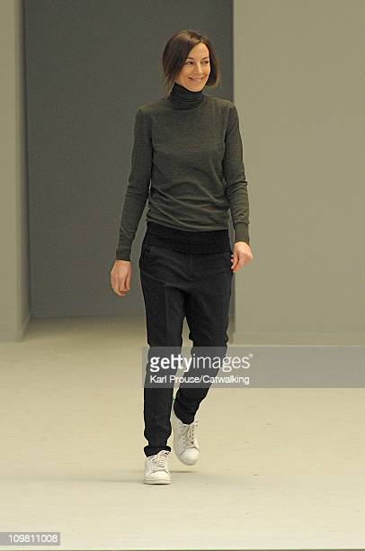Phoebe Philo on the runway at the Celine fashion show during Paris Fashion Week on March 6 2011 in Paris France